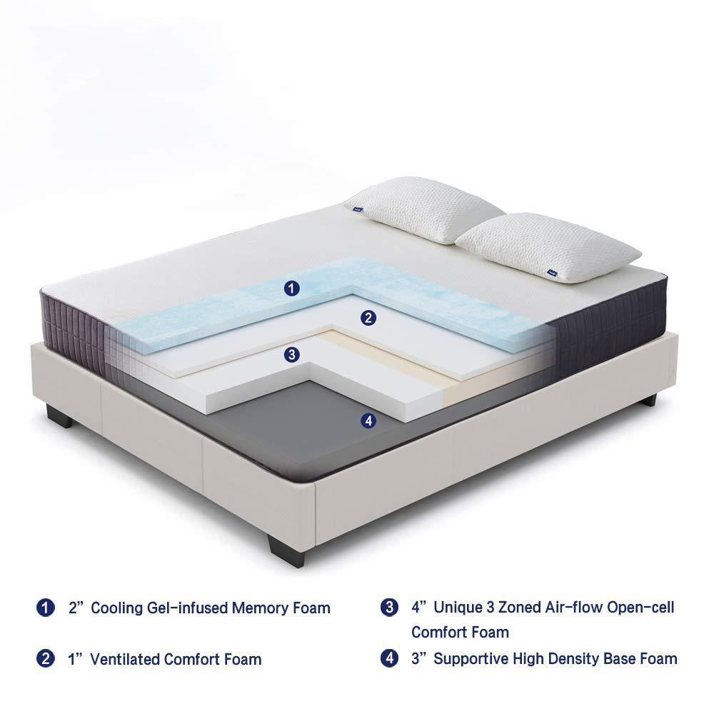 "Valyou 10"" Four-Layered Gel Memory Foam Mattress"