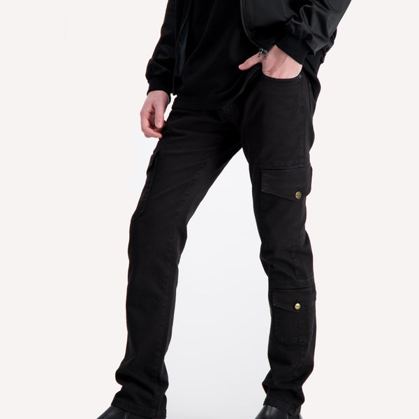 casanova c2 slim cargo black pants
