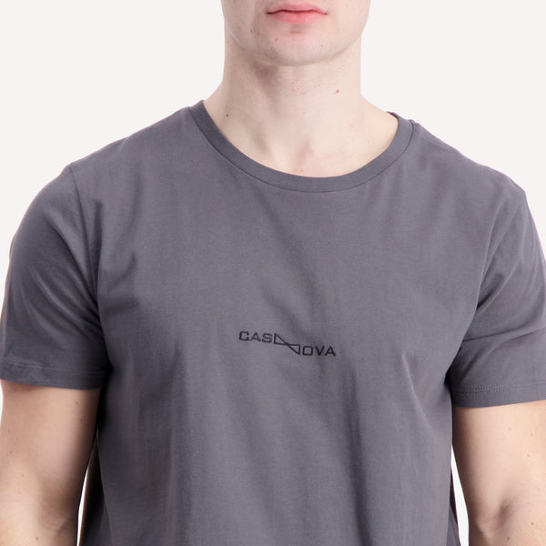 embroidered casanova grey t-shirt