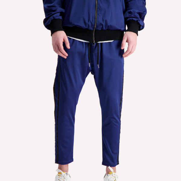 acetate blue track pants