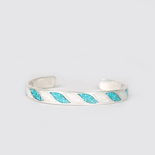Chip Inlay Cuff Turquoise & Coral