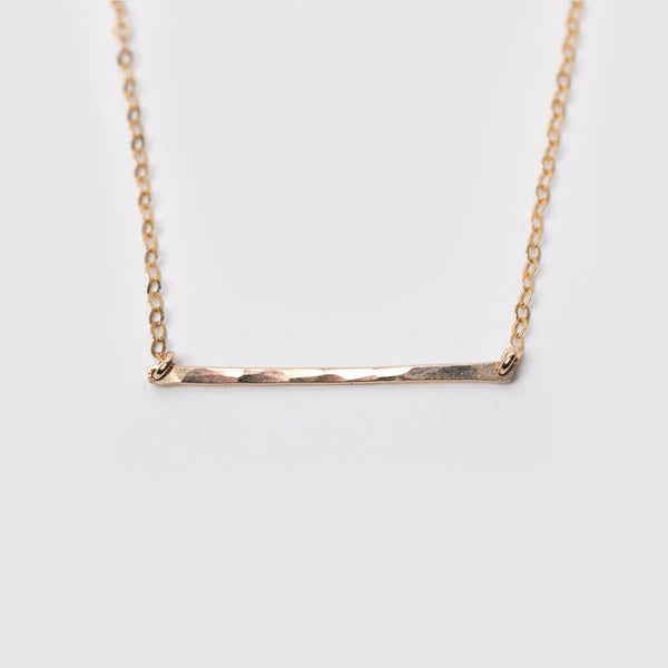 14K Gold Fill Hammered Bar Necklace