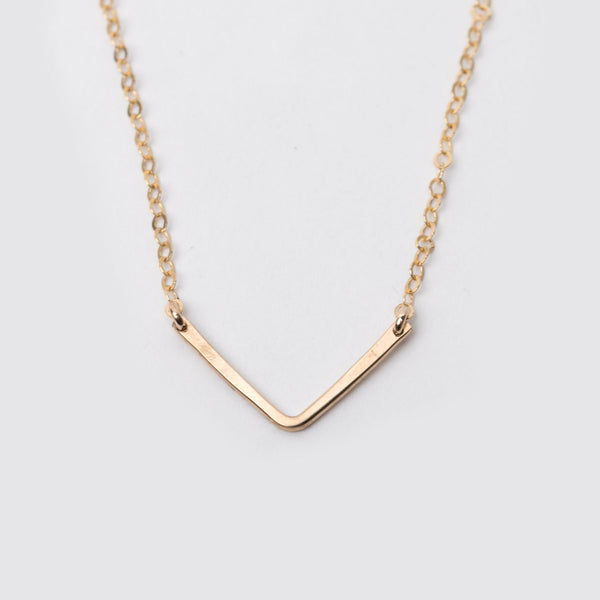 14K Gold Fill Hammered V Necklace