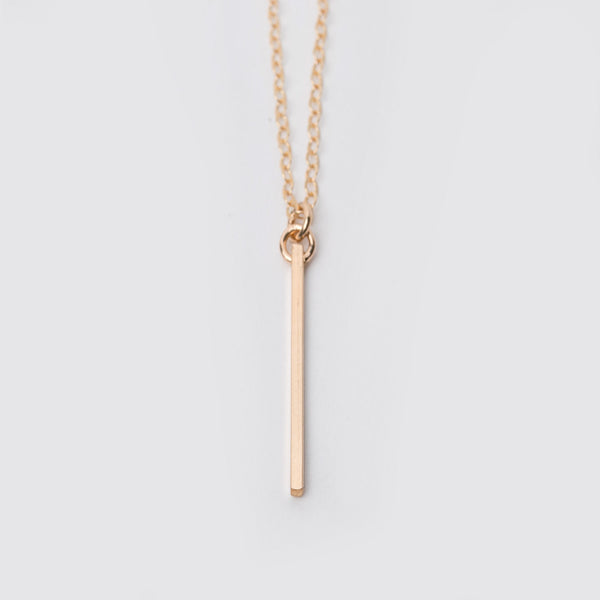 14K Gold Fill Long Vertical Bar Necklace