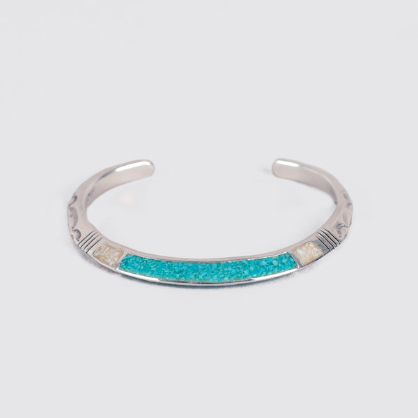 Triangle Chip Inlay Turquoise Cuff Bracelet