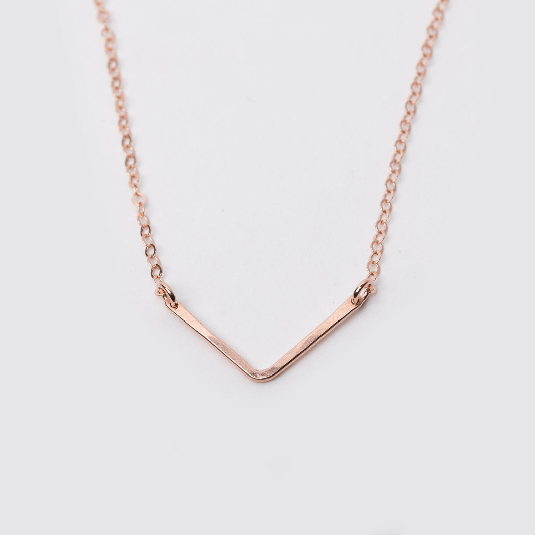 14K Rose Gold Fill V Necklace