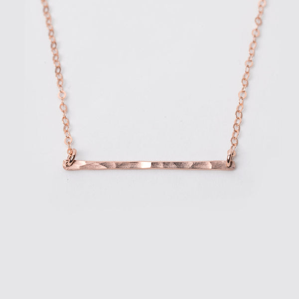 14K Rose Gold Fill Hammered Bar Necklace