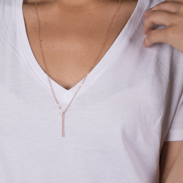 14K Rose Gold Fill Long Vertical Bar Necklace
