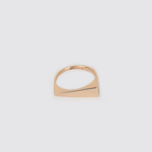 14K Gold Geometric Triangle Ring