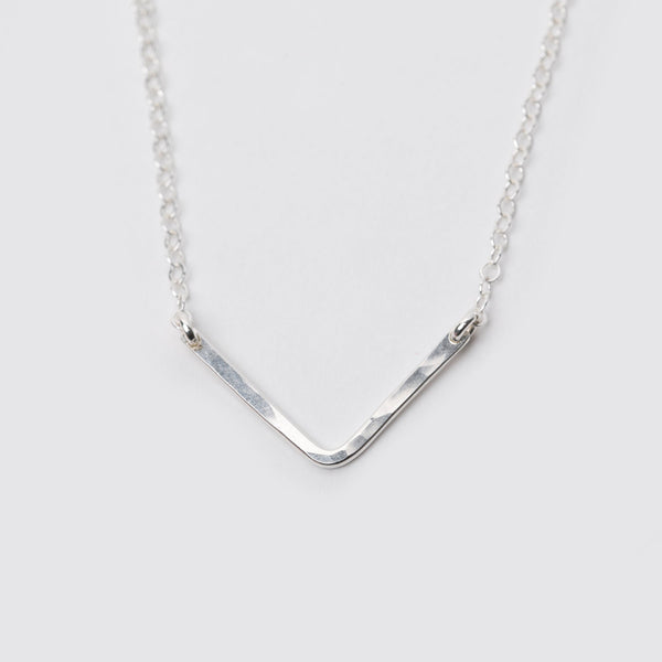 Sterling Silver Hammered V Necklace