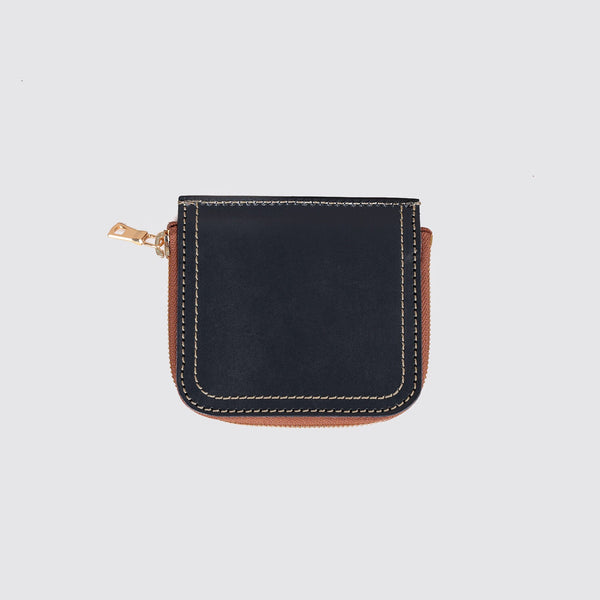 Short Zip Billfold Navy Bridle Leather
