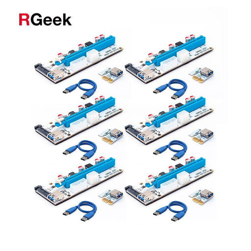 008 Pcie Pci-E Pci Express Riser Card 1X To 16X Usb 3.0 Data Cable Sata To 4Pin Ide Molex Power-Computer Components-RGeek Computer Store-EpicWorldStore.com
