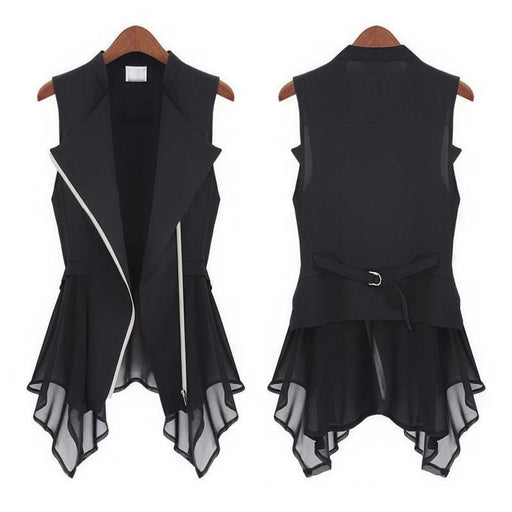#0725 Summer Black Asymmetrical Chiffon Waistcoat For Women Vest Coat Sleeveless Jacket Plus Size-Vests & Waistcoats-Alan women clothes-Black-S-EpicWorldStore.com