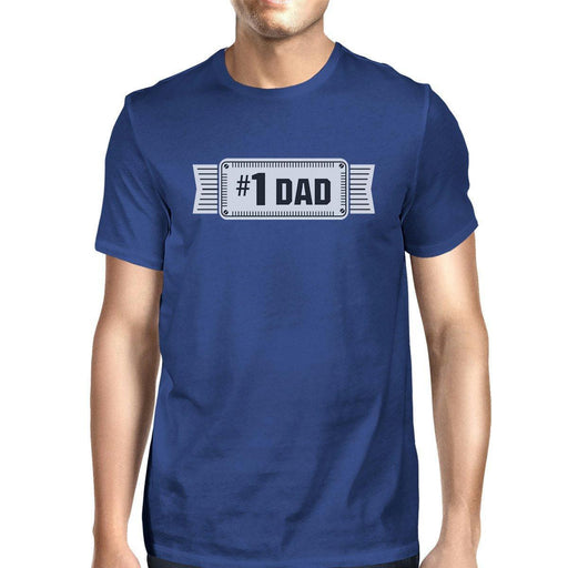 #1 Dad Mens Blue Cotton T-Shirt Vintage Design Graphic Tee For Dad-Apparel & Accessories-365 Printing-LARGE-EpicWorldStore.com