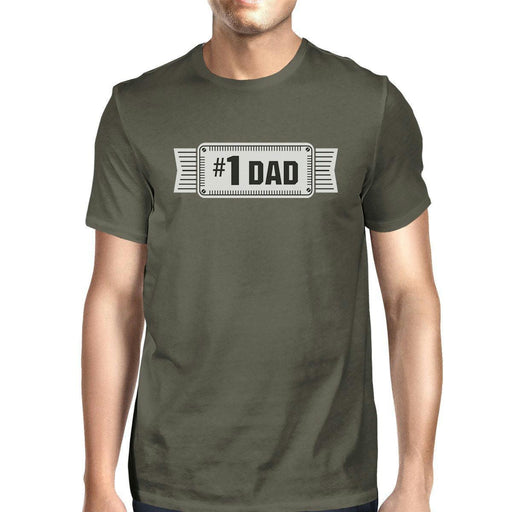 #1 Dad Mens Dark Gray Round Neck Unique Design Tee Funny Dad Gifts-Apparel & Accessories-365 Printing-X-LARGE-EpicWorldStore.com