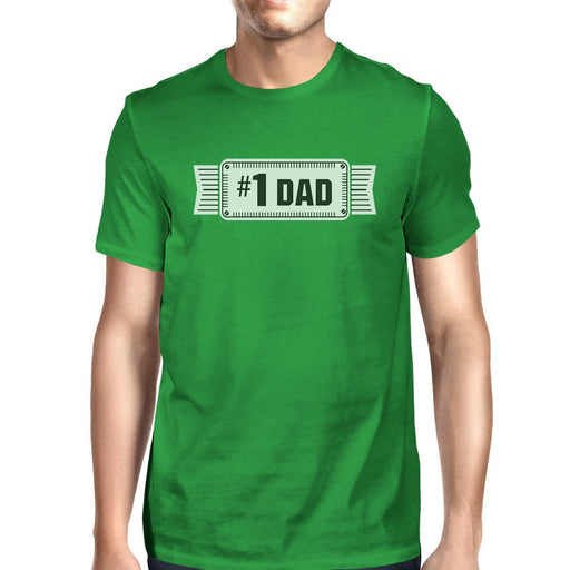 #1 Dad Mens Green Funny Fathers Day Graphic Shirt Unique Dad Gifts-Apparel & Accessories-365 Printing-SMALL-EpicWorldStore.com