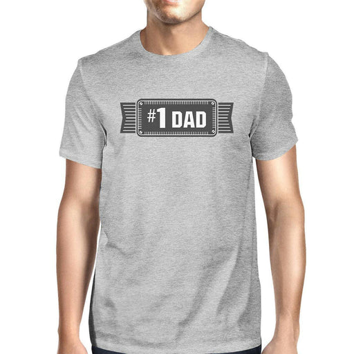 #1 Dad Mens Grey Cotton Graphic T-Shirt Unique Design Tee For Dad-Apparel & Accessories-365 Printing-X-LARGE-EpicWorldStore.com