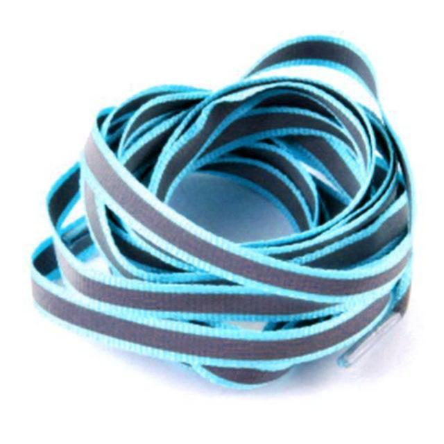 1 Pair 100Cm Flat 3M Reflective Runner Shoe Laces Safety Luminous Glowing Shoelaces Unisex For Sport-Shoe Accessories-Titi Kaka-lake blue-EpicWorldStore.com