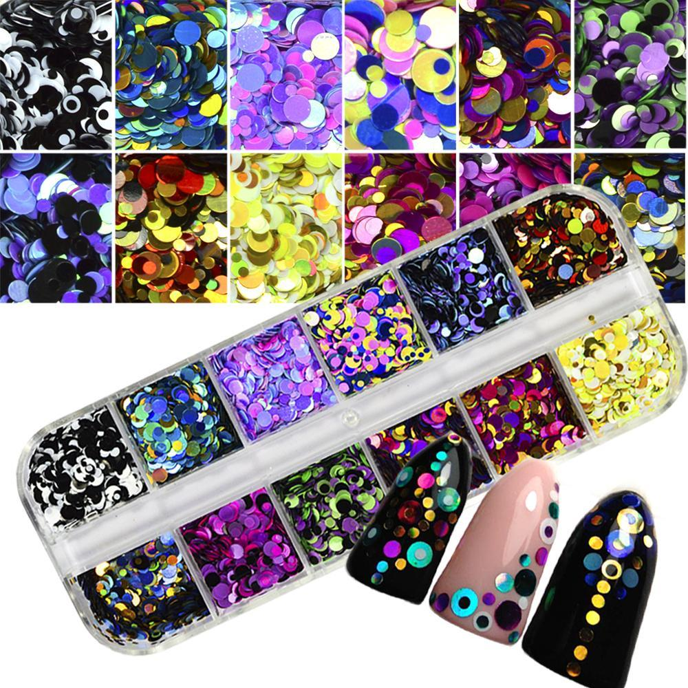 1 Set Dazzling Round Nail Glitter Sequins Dust Mixed 12 Grids 1/2/3Mm Diy Charm Polish Flakes-Nails & Tools-STZ Nail Art-P-A-EpicWorldStore.com