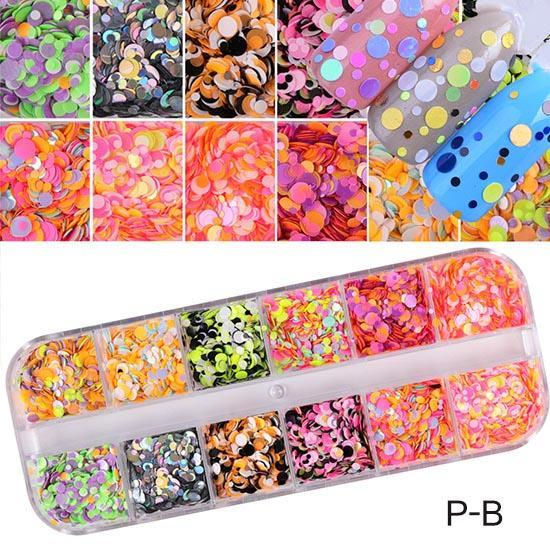 1 Set Dazzling Round Nail Glitter Sequins Dust Mixed 12 Grids 1/2/3Mm Diy Charm Polish Flakes-Nails & Tools-STZ Nail Art-P-B-EpicWorldStore.com
