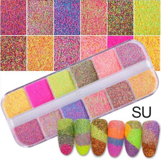 1 Set Dazzling Round Nail Glitter Sequins Dust Mixed 12 Grids 1/2/3Mm Diy Charm Polish Flakes-Nails & Tools-STZ Nail Art-SU-EpicWorldStore.com