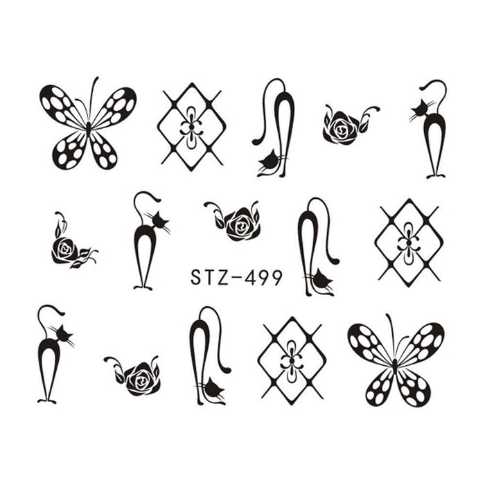 1 Sheets Hot Nail Sticker Black Necklace Jewelry Beauty Water ...