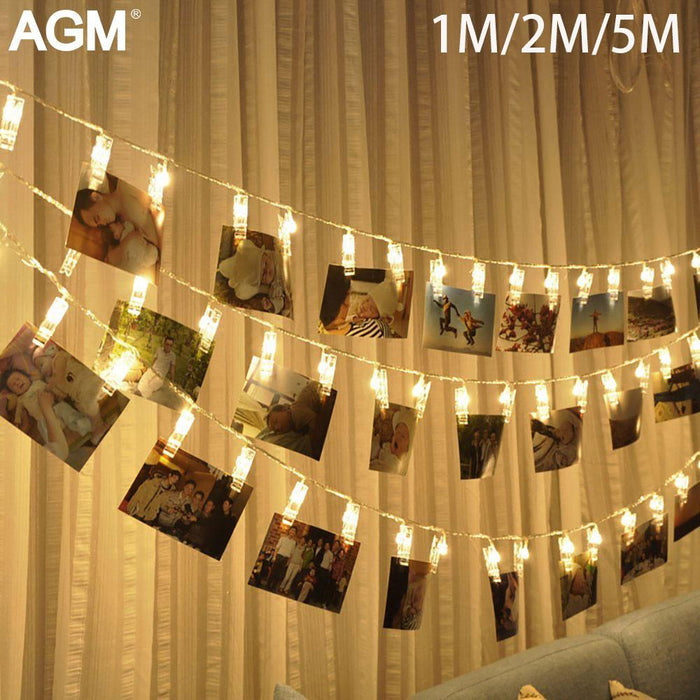 10 20 40 Led Garland Card Photo Clip Led String Fairy Lights Battery Operated Christmas Garlands
