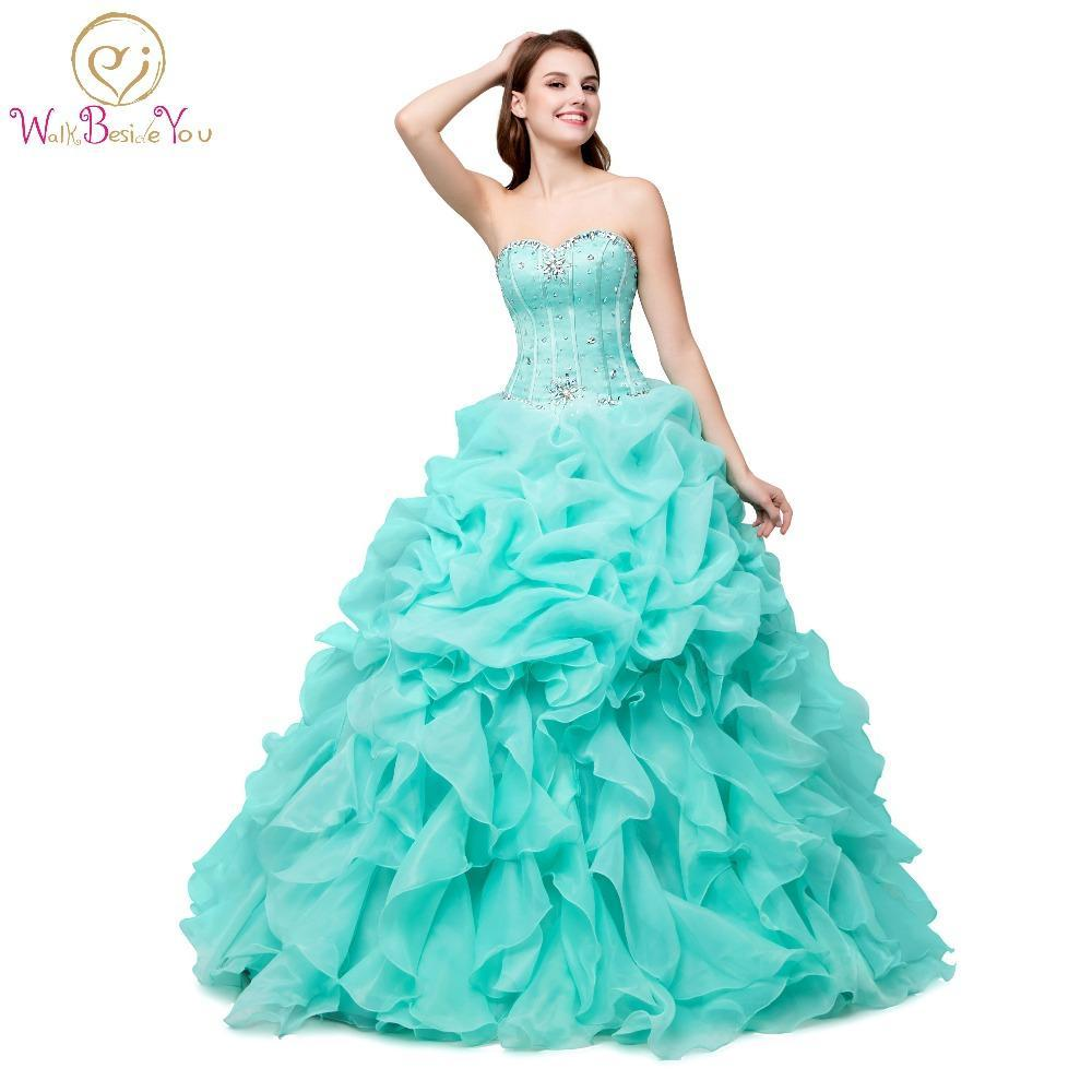 a11a4fa6688 100% Real Images Quinceanera Dress For 15 Years In Stock Organza Ruffled  Pink Green Cheap
