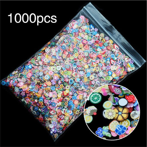 1000Pcs/Pack 3D Fruit Flowers Feather Design Tiny Fimo Slices Polymer Clay Diy Girls Toys Stickers-Classic Toys-Ali-Dream Toy Store-EpicWorldStore.com