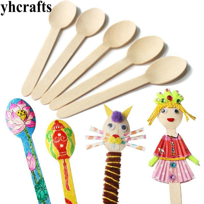 100pcslotwood Spoon Arts And Craftsearly Learning Educational Toys Kindergarten Craft Material