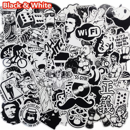 101 Pcs Black And White Sticker Snowboard Car Styling Sleigh Box Luggage Fridge Toy Vinyl Decal Home-Classic Toys-Zhehong Toy Store-EpicWorldStore.com