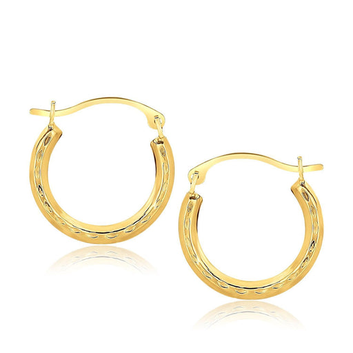 10K Yellow Gold Fancy Hoop Earrings-Jewelry-EpicWorldStore.com-EpicWorldStore.com