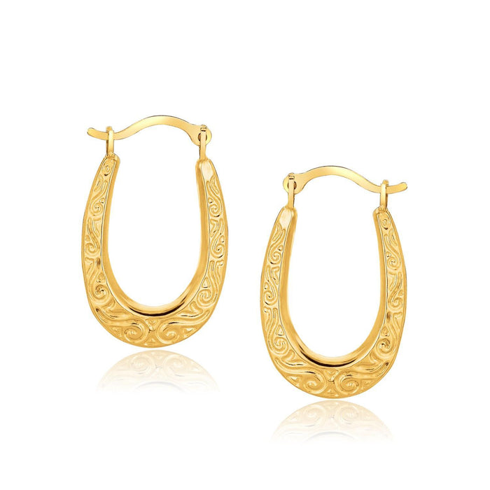 10K Yellow Gold Fancy Oval Hoop Earrings-Jewelry-EpicWorldStore.com-EpicWorldStore.com