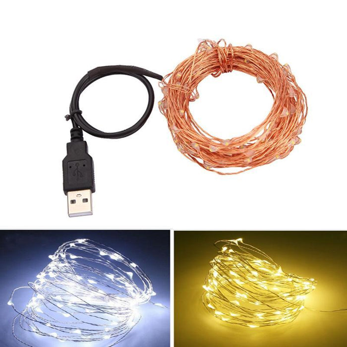 10m 33ft 100 Led Usb Outdoor Led Copper Wire String Lights Christmas Festival Wedding Party