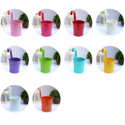 10Pc Metal Flower Hanging Flower Pot Hook Wall Removable Candy Color Iron Bucket Tin Garden-Flower Pots & Planters-Daily Storage Warm Store-10pcs-EpicWorldStore.com