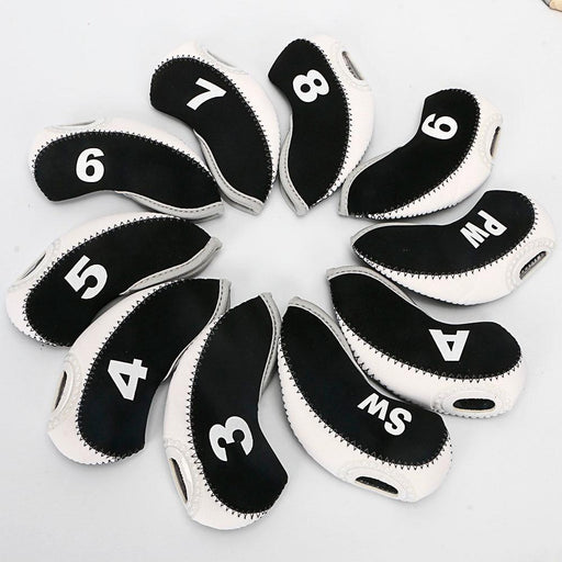 10Pcs Golf Irons Headcover Iron Putter Head Protective Cover Golf Club Cover Golf Accessories 12-Golf Clubs-EXT Store-white black-EpicWorldStore.com