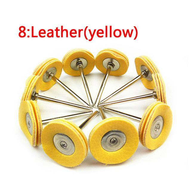 10Pcs Polishing Wheel Buffing Pad Brush Jewelry Metal Micro-Electronic Dremel Accessories For Rotary-Abrasive Tools-PAN Trading Co,.Ltd-No8 leatherYellow-EpicWorldStore.com