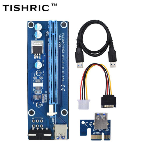 10Pcs Tishric Ver006 60Cm Usb 3.0 Pci-E Extender Pci Express Riser Card 1X To 16X Sata To 4Pin Ide-Accessories & Parts-ShenZhen TISHRIC Factory Store-EpicWorldStore.com