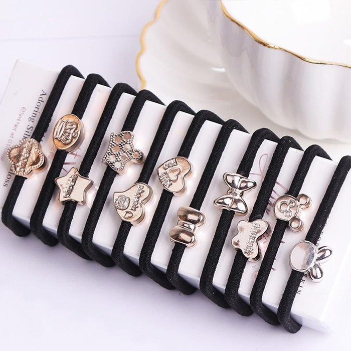10Pcs/Lot New Korean Hair Accessories For Women Black Elastic Hair Rubber Bands Girls Lovely Hair-Accessories-Reera Jewelry Store-EpicWorldStore.com