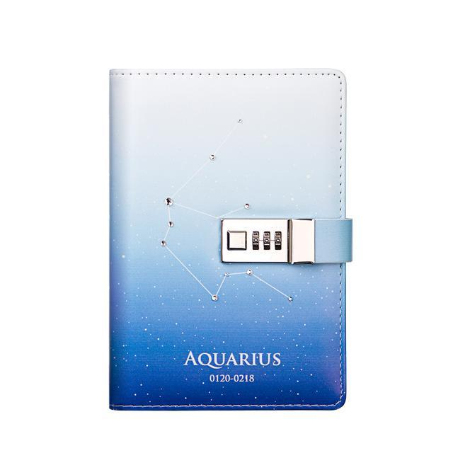 12 Constellation B6 Notebook With Lock Password Student Diary Lockable Writing Pads School Office-Best goods for best you-Aquarius-EpicWorldStore.com