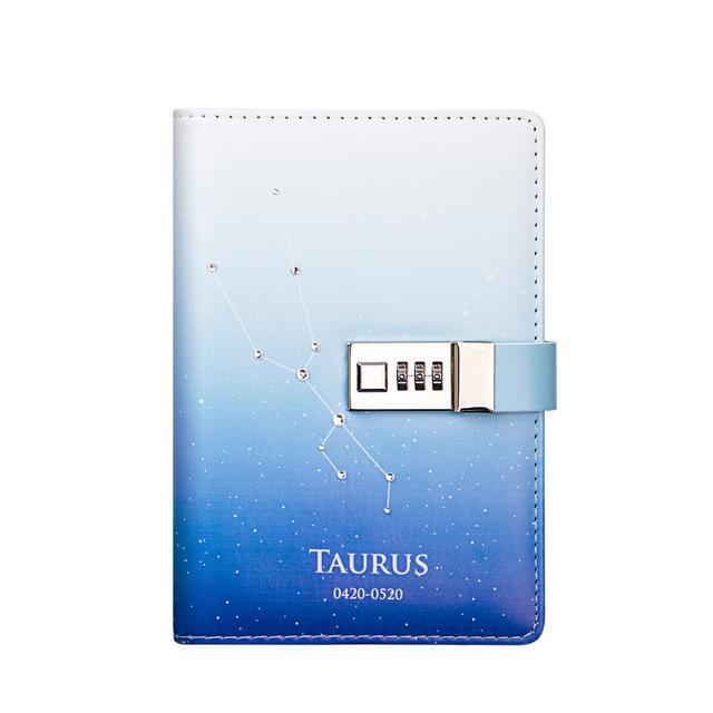 12 Constellation B6 Notebook With Lock Password Student Diary Lockable Writing Pads School Office-Best goods for best you-Taurus-EpicWorldStore.com