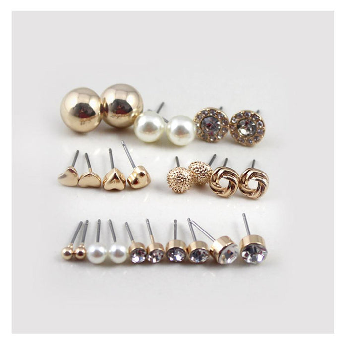 b6f8c26ac 12 Pairs Sets Round Square Ball Alloy Crystal Stud Pearl Earrings For Women  Hot-Selling
