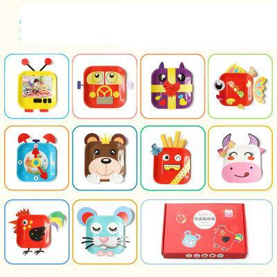 12pcs 1box Lot Animals Flower Bird Cartoon Paper Plate Craft Kits Early Learning Educational Toys
