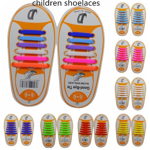 12Pcs/Pair Kids Children Elastic Silicone Shoelaces Sneakers No Tie Shoelaces Child Shoes Laces Baby-Shoe Accessories-Let's Walking Store-Black-EpicWorldStore.com