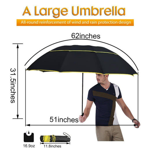 130Cm Big Top Quality Umbrella Men Rain Woman Windproof Large Paraguas Male Women Sun 3 Floding-Household Merchandises-TOPX Store-Red-EpicWorldStore.com