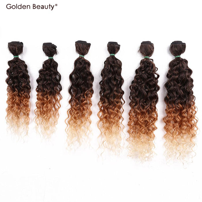 14 18inch Jerry Curly Synthetic Hair Weave Ombre Color Sew In Hair