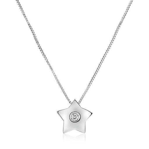 "14K White Gold Necklace With Gold And Diamond Star Pendant-Jewelry-EpicWorldStore.com-18""-EpicWorldStore.com"