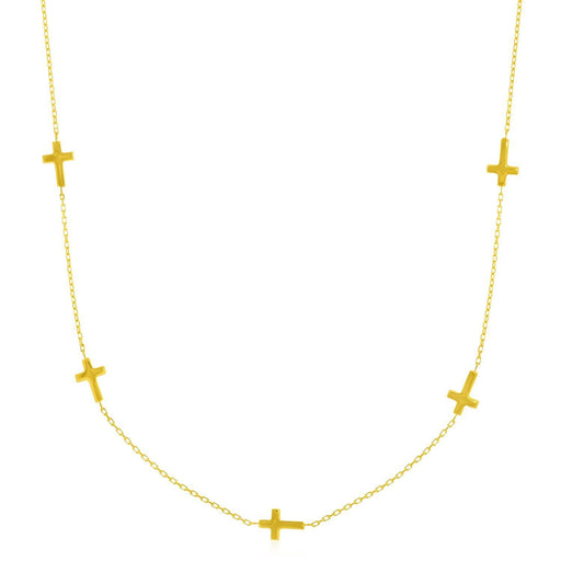 "14K Yellow Gold Chain Necklace With Cross Stations-Jewelry-EpicWorldStore.com-17""-EpicWorldStore.com"