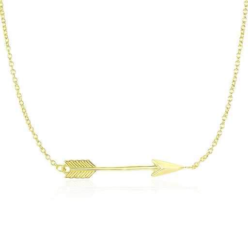 "14K Yellow Gold Chain Necklace With Horizontal Arrow Pendant-Jewelry-EpicWorldStore.com-18""-EpicWorldStore.com"