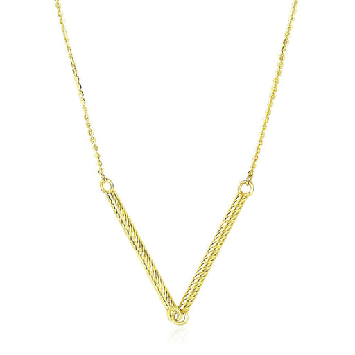"14K Yellow Gold Chain Necklace With Two Connected Thin Bar Pendant-Jewelry-EpicWorldStore.com-18""-EpicWorldStore.com"